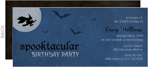 Midnight Blue Flight of a Witch Birthday Party Invitation