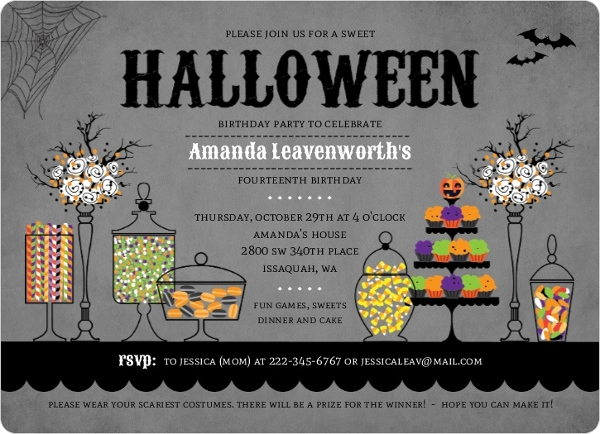Halloween themed candy table birthday party invitation halloween halloween themed candy table birthday party invitation filmwisefo