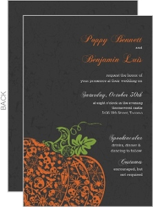 Fancy Orange Pumpkin Halloween Wedding Invitation