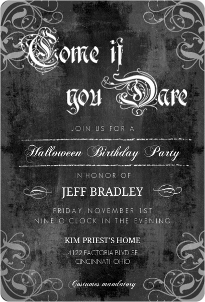 Come You Dare Vintage Style Halloween Birthday Invitation