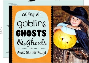 Orange Blue and Black Bats Halloween Birthday Invitation