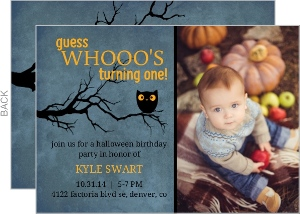 Night Sky Owl Halloween Birthday Invitation