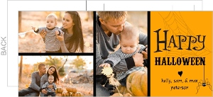 Orange and Black Photo Collage Postcard Halloween Card
