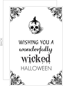 Flourish Skull White and Black Halloween Card