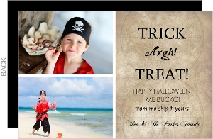 Pirate Treasure Map Photo Halloween Card
