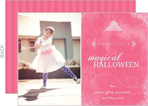 Girly Pink Princess Halloween Card