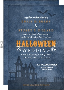 Haunted Rustic Blue Floral Halloween Wedding Invitation