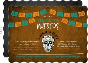 Turquoise & Orange Dia De Los Muertos Party Invitation
