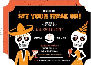 Freaky Dia De Los Muertos Halloween Party Invitation