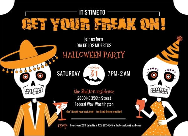 Freaky Dia De Los Muertos Halloween Party Invitation Halloween - Day of the dead party invitation template