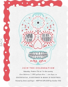 Modern Sugar Skull Day of the Dead Invitation