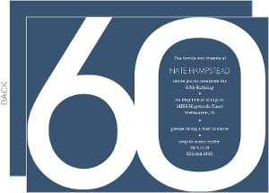 Modern Blue 60th Birthday Invitation
