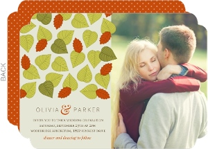 Whimsical Falling Leaves Wedding Invitation