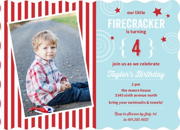 blue and red stars and stripes fourth of july birthday party