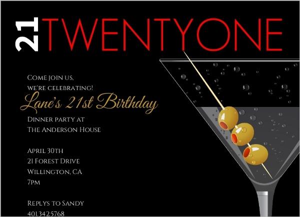 Martini With Olives 21st Birthday Invitation