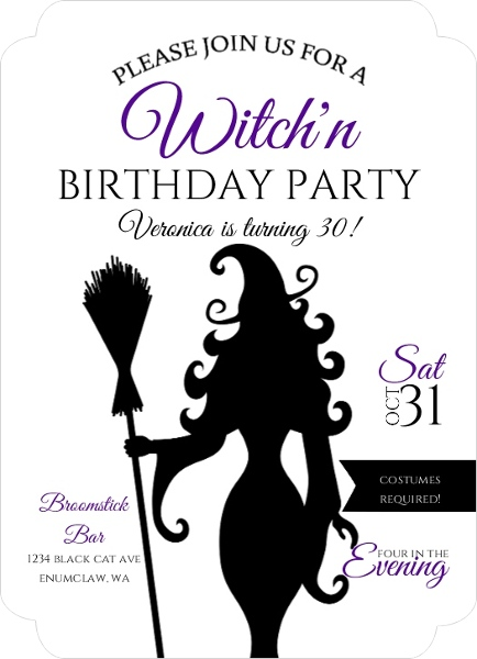 Sassy Witch Halloween Birthday Party Invitation Halloween Invitations