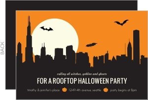 Orange Rooftop Halloween Party Invitation