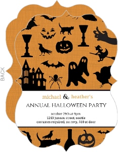 Ghosts Bats and Witch Hats Halloween Invite