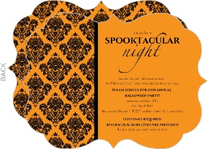 Couture Orange and Black Damask Halloween Party Invitation