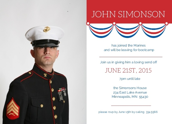 patriotic banner military send off party invite going away invitations