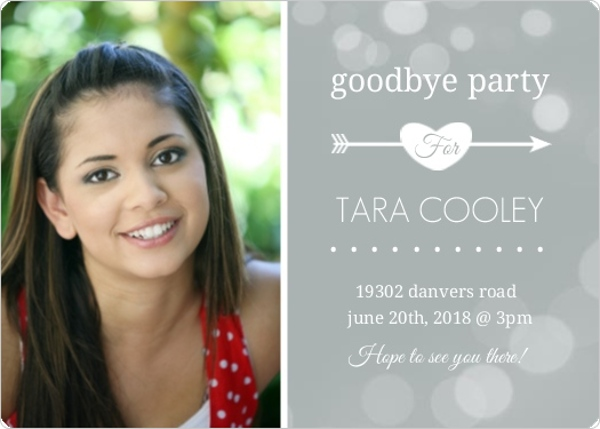 gray dots farewell party invitation and contact card going away