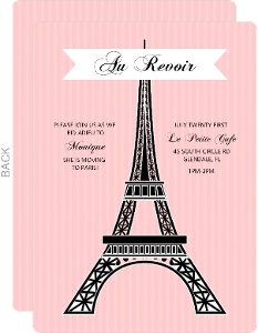 Pink Paris Eiffel Tower Farewell Party Invite
