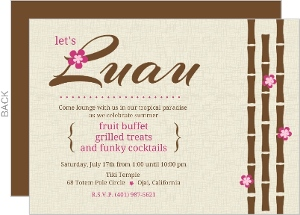 Hawaiian Flowers And Bamboo Luau Party Invitation