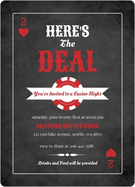 Black and Red Casino Chips Casino Night Invitation Poker Invitations