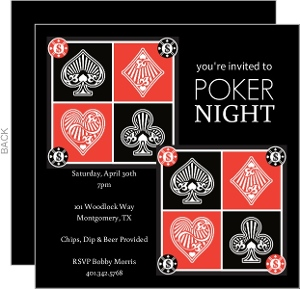 Red and Black Suits Poker Night Invitations
