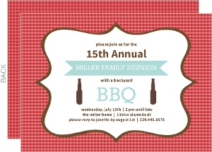 Red Gingham Cookout Reunion Invitation