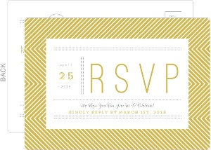 Delicate Gold Chevron Wedding Response Card
