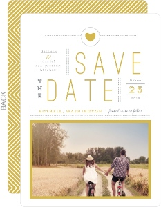 Delicate Gold Chevron Wedding Save The Date Announcement