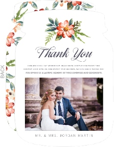 Painted Spring Blossom Wedding Thank You Card