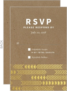 Kraft & Gold Arrow Faux Foil Pattern Wedding Response Card