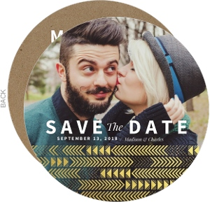 Kraft & Gold Arrow Faux Foil Pattern Wedding Save The Date Card