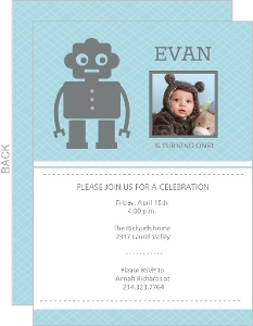 Sweet Little Robot One Year Old Invitation