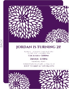 Bold Purple Floral 21st Birthday Invitation