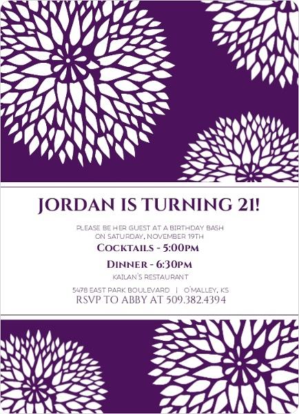 21 bday invites