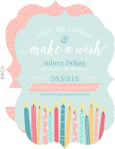 Cheerful Candle Wishes Birthday Party Invitation