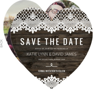 Elegant Rustic Lace Save The Date Announcement