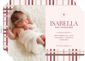 Muted Plaid Girl Birth Announcement