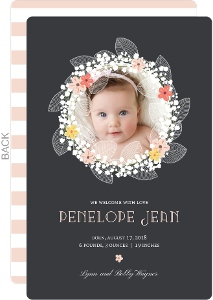 Mixed Floral Wreath Girl Birth Announcement