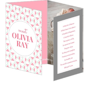 Pink Mint Geometric Pattern Girl Birth Announcement