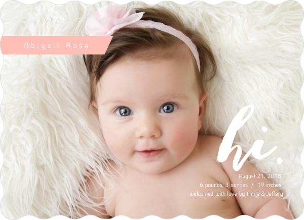 Pink Damask Hi Girl Birth Announcement Girl Birth Announcements - Girl birth announcements