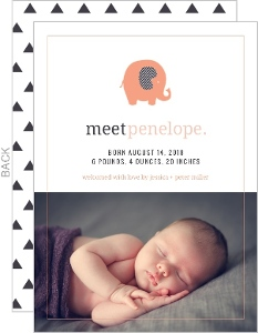 Whimsical Coral Elephant Girl Birth Announcement