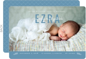 Modern Type Blue Boy Birth Announcement