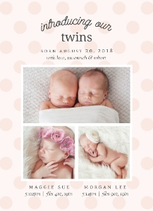 Whimsical Polkadots Twin Birth Announcement