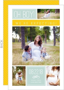 Clean Yellow Blue Blocks Pregnancy Announcement