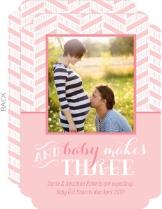 Modern Pink Chevron Pregnancy Announcement