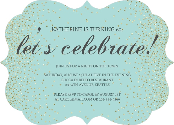 Blue faux glitter lets celebrate birthday invitation adult blue lets celebrate birthday invitation filmwisefo